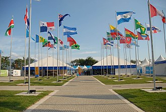 Pan American Games - Flag of the participating countries flying at the 2007 Pan American Games athlete's village.