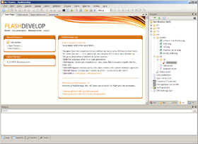 FlashDevelop version 11.0.0 (2010) sous Windows XP.