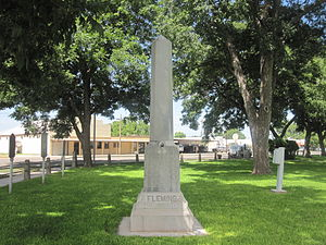 Kimble County, Texas - Obelisk monument to Burt M. Fleming (1894-1918), cited for bravery in World War I, is located on the lawn of the Kimble County courthouse.