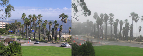 Change in visibility due to fog in Santa Barbara, California, USA.