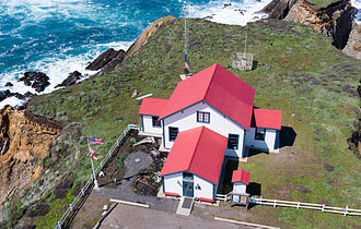 Point Arena Light - Image: Fog Signal Building at Point Arena Lighthouse