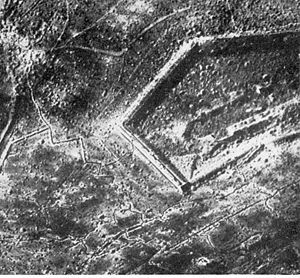 Verdun - Aerial photograph of Fort Douaumont towards the end of 1916.