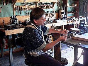 Fort Steele, British Columbia - Leather working is one of the many demonstrations offered.