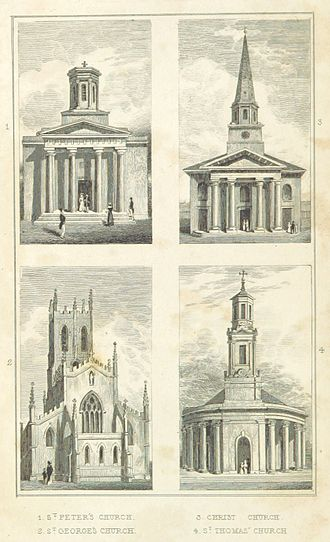 St George in the Fields, Hockley - Image: Four old Birmingham Churches St Peter, St George, Christ Church, St Thomas
