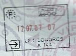 A Schengen (French) passport stamp issued in London