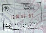 Schengen (franca) pasportstampo emisiita en Londono