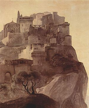 Parga - Depiction of the castle from a painting by Francesco Hayez (1791–1882).