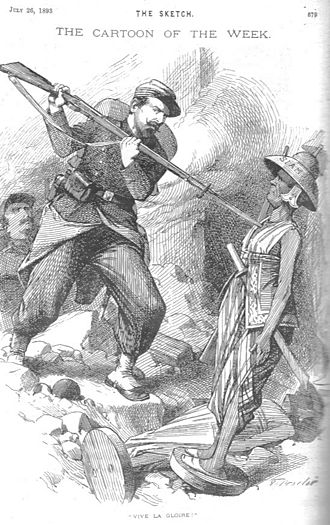 Franco-Siamese War - A cartoon from the British newspaper The Sketch shows a French soldier attacking a Siamese soldier depicted as a harmless wooden figure, reflecting the technological superiority of the French troops.