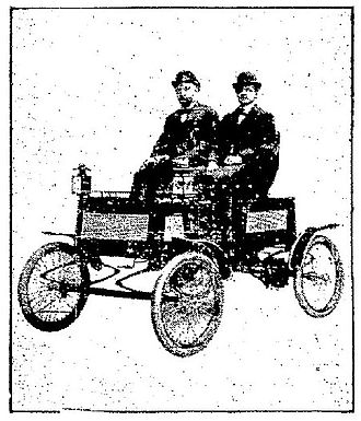 Franklin (automobile) - Alex T. Brown and John Wilkinson of H. H. Franklin Manufacturing Company in one of their gasoline automobiles after a record run over rough country roads, February 21, 1902