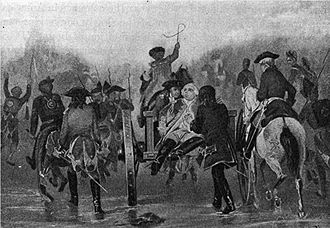 Battle of the Monongahela - The mortally wounded General Braddock during the retreat. The British saw significant casualties in the battle.