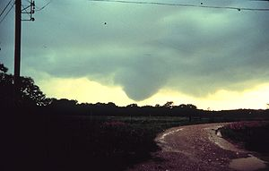 Funnel cloud approaching the ground - NOAA