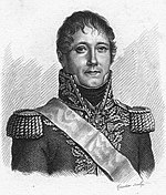 Print shows a grim-looking and hatless man with a possibly damaged right eye wearing a Napoleonic era French general's uniform, with dark coat, light-colored epaulettes and braid, and a high collar.