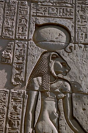 Sekhmet - The warrior goddess Sekhmet, shown with her sun disk and cobra crown from a relief at the Temple of Kom Ombo.