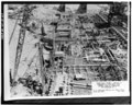 GENERAL VIEW OF OPERATIONS IN COFFERDAM NO. 2, June 28, 1937 - Upper Mississippi River 9-Foot Channel, Lock and Dam No. 9, Lynxville, Crawford County, WI HAER WIS,12-LYNX.V,1-63.tif