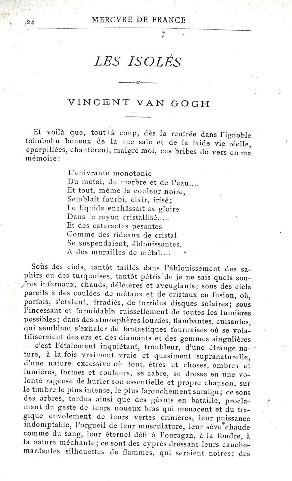 Gabriel Albert Aubrier - Les isolés - first page Article on Vincent van Gogh - Mercure de France, January 1890