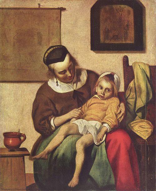 病気の少女(1660年)。ハブリエル・メツーの作品。