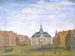 Gammeltorv - Gammeltorv with the Caritas Well and the new city hall, c. 1730, painting by Johannes Rach