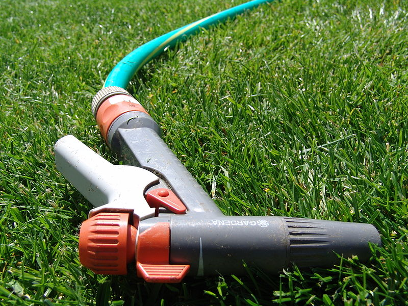 Install automatic shut-off nozzle on garden hose - Image courtesy of https://upload.wikimedia.org/wikipedia/commons/thumb/9/92/Garden_hose_pistol.JPG/800px-Garden_hose_pistol.JPG