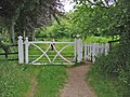 Gate on woodland path Moor Crichel Dorset - geograph.org.uk - 187826.jpg