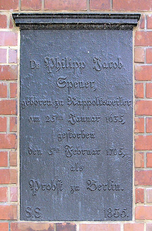 Philipp Spener - Memorial plaque on Nikolaikirchplatz in Berlin.