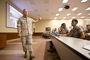The Basic School - Gen. James F. Amos speaks to graduating Marines with Charlie Company, The Basic School (TBS), at Quantico, Va., 27 August 2014.