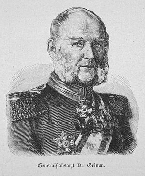 Generalstabsarzt - Generalstabsarzt D.M. Grimm, here Major general of the Medical Corps,  wood-engraving ca. 1885.