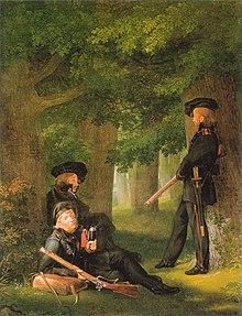 Theodor Körner, Friesen und Hartmann auf Vorposten, Ölgemälde von Georg Friedrich Kersting, 1815 (Quelle: Wikimedia)