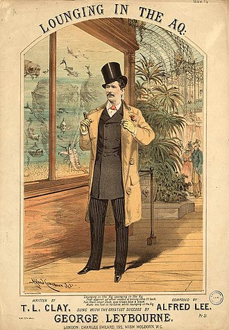 Royal Aquarium - Sheet music cover for Lounging in the Aq. (1880), illustrated by A. Concanen