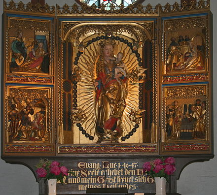 Mary with an inscription referencing Luke 1:46-47 in St. Jurgen church in Gettorf (Schleswig-Holstein) Gettorf Altar.jpg