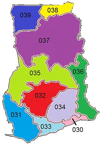 Telephone numbers in Ghana - Image: Ghana regional phone codes