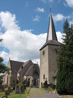 Gillenfeld - Gillenfeld, Saint Andrew's Parish Church (Pfarrkirche St. Andreas) with mediaeval belltower