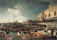 Giovanni Antonio Canal, il Canaletto - Reception of the Ambassador in the Doge's Palace - WGA03886.jpg