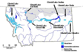Great Falls (Missouri River) - Map of Montana showing Glacial Lake Great Falls.