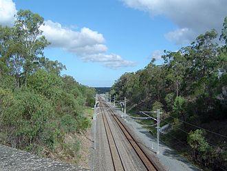 Gold Coast railway line - Railway south of Ormeau station, 2014