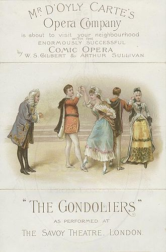 The Gondoliers - The gavotte scene: 1890 advertisement for a touring company