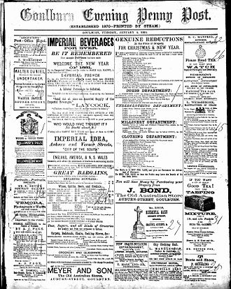 Goulburn Evening Penny Post - Front page of the Goulburn Evening Penny Post Tuesday 4 January 1881