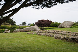 Locmariaquer megaliths - The four pieces of the Broken Menhir, seen from the tumulus of Er Grah