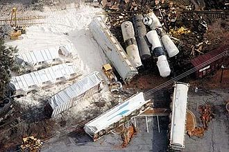 2005 in rail transport - Aerial view of the Graniteville accident's aftermath.
