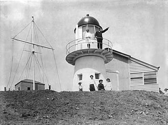 Grassy Hill Light - Grassy Hill Light, 1917. The flag pole and the residence are also visible