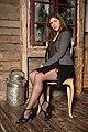 Gray blazer brown shirt black split skirt sheer tights and strappy heels - modeled by Marina Daschner.jpg