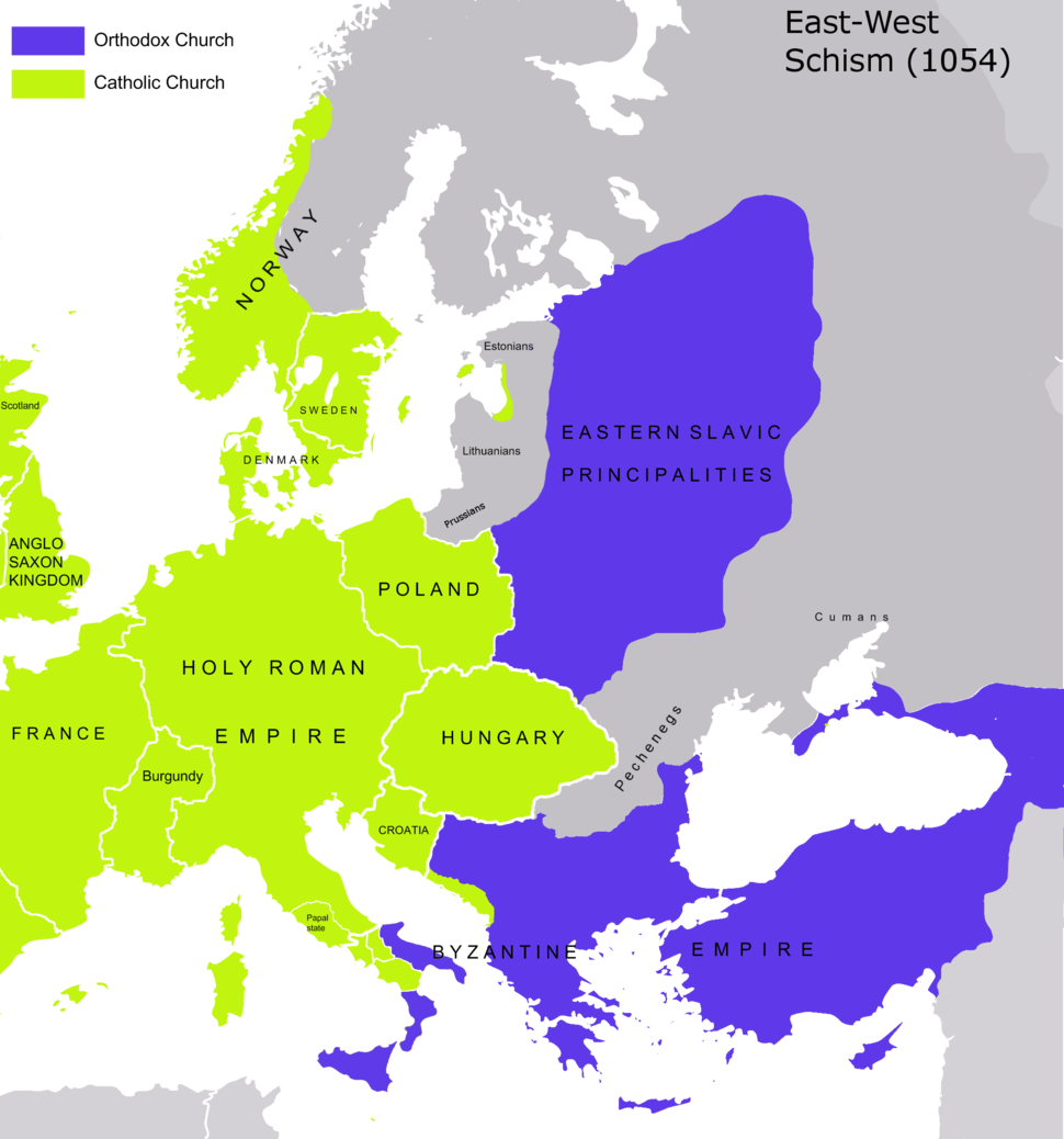 Great Schism 1054 with former borders-