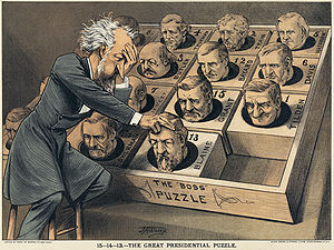 15 puzzle - U.S. Political cartoon about finding a Republican presidential candidate in 1880