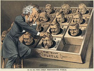 "Roscoe Conkling - An 1880 political cartoon shows Conkling working at a ""Presidential puzzle"" of heads of possible candidates."