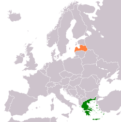 Map indicating locations of Greece and Latvia