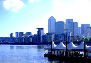 Surrey Commercial Docks - Greenland Dock Pier and view of Canary Wharf