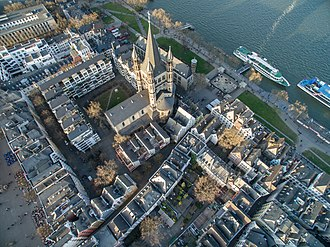 Great St. Martin Church, Cologne - Aerial view of the Great St. Martin Church, Cologne