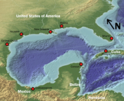 Map of the Gulf of Mexico, to be used to show oilfields