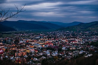 Gura Humorului - Panoramic view of the city from one of the surrounding hills