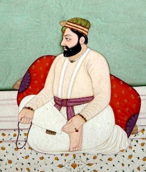 Guru Hargobind - Opaque watercolor on paper (c. 1790)