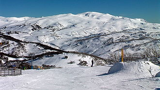 Skiing in Australia - Guthega is one of the four bases of Perisher, Australia's largest ski resort.